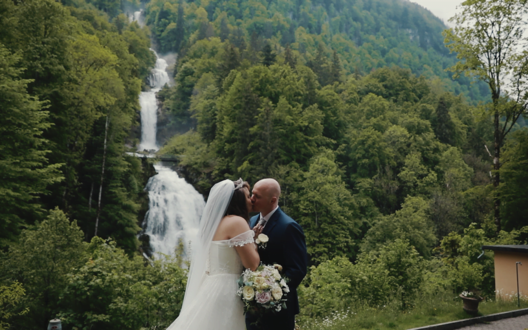 Giessbach Wedding at one of Switzerland's Most Spectacular Waterfalls